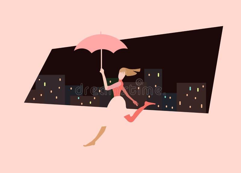 跑的年轻女人的例证,伞 向量例证