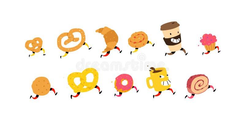 跑的快餐的例证 ?? 咖啡、新月形面包,小圆面包和其他的字符玻璃 站点的象一白色backg的 库存例证