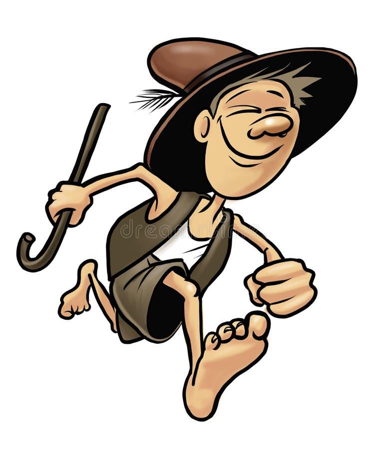 跑的愉快的赤脚看管用棍子和帽子 库存照片