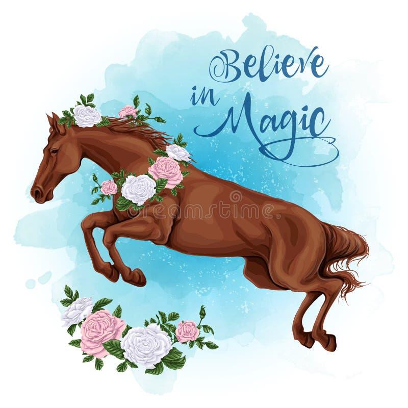 跑的白马有玫瑰水彩背景 皇族释放例证