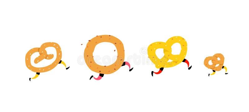 跑的百吉卷的例证 与朋友的连续椒盐脆饼 ?? 与腿的嘎吱咬嚼的字符 站点的象 标志,商标fo 皇族释放例证