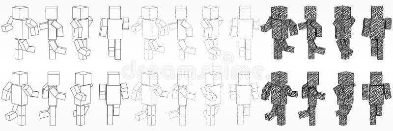 跑的立方体字符 3d样式简单的立方体字符例证 皇族释放例证