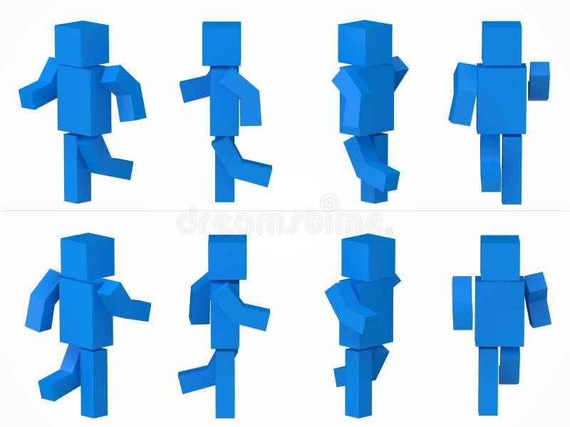 跑的立方体字符 3d样式蓝色立方体字符例证 皇族释放例证