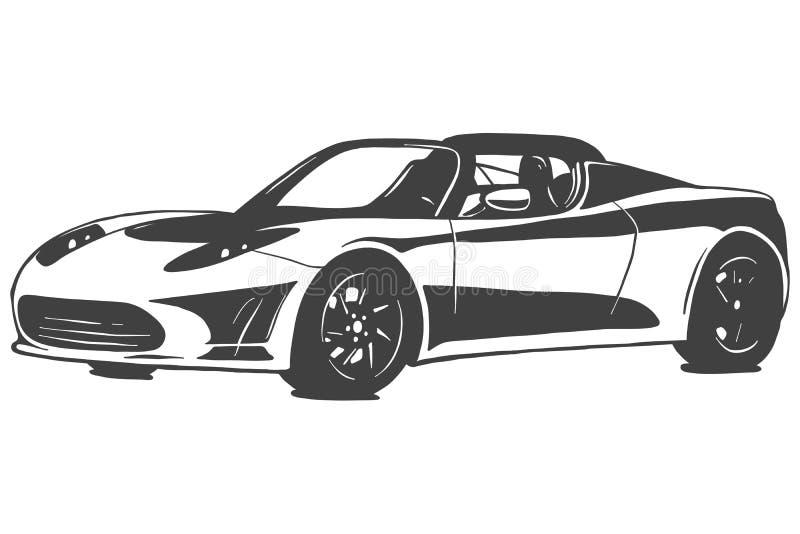 跑车传染媒介在白色背景隔绝的黑色例证 象查找的画笔活性炭被画的现有量例证以图例解释者做柔和的淡色彩对传统 向量例证