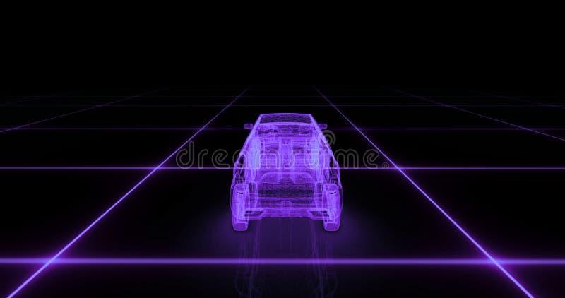 跑车导线模型有紫色霓虹ob黑色背景 向量例证