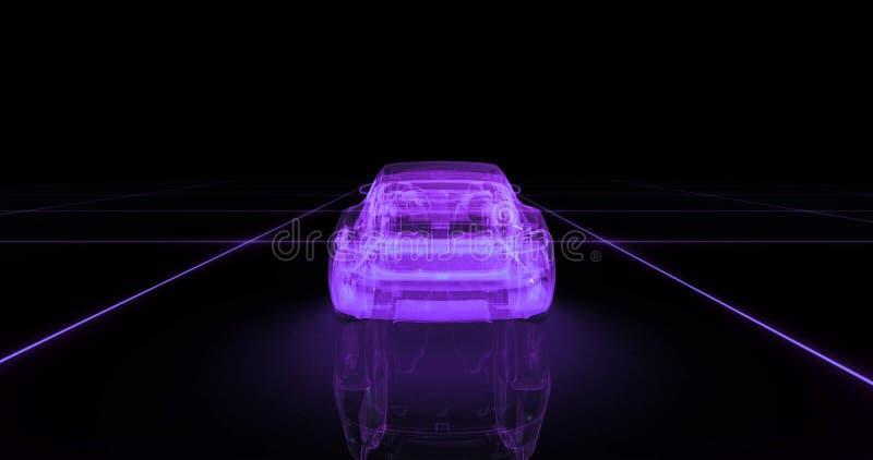跑车导线模型有紫色霓虹ob黑色背景 库存例证