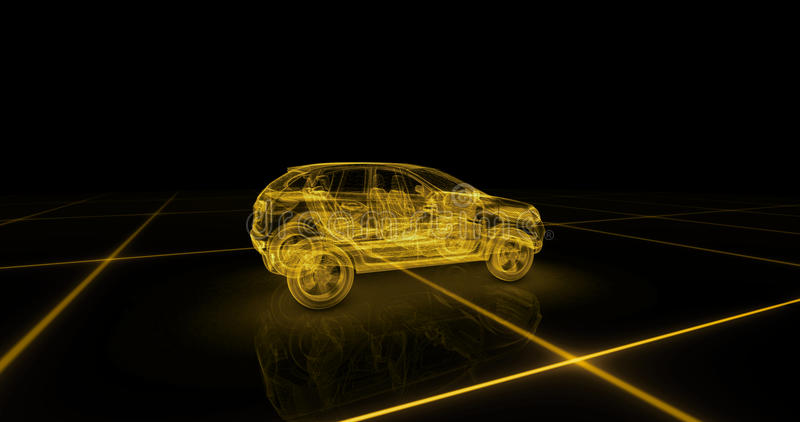 跑车导线模型有黄色霓虹ob黑色背景 库存例证