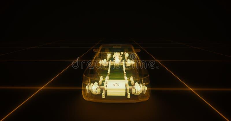跑车导线模型有黄色霓虹ob黑色背景 皇族释放例证