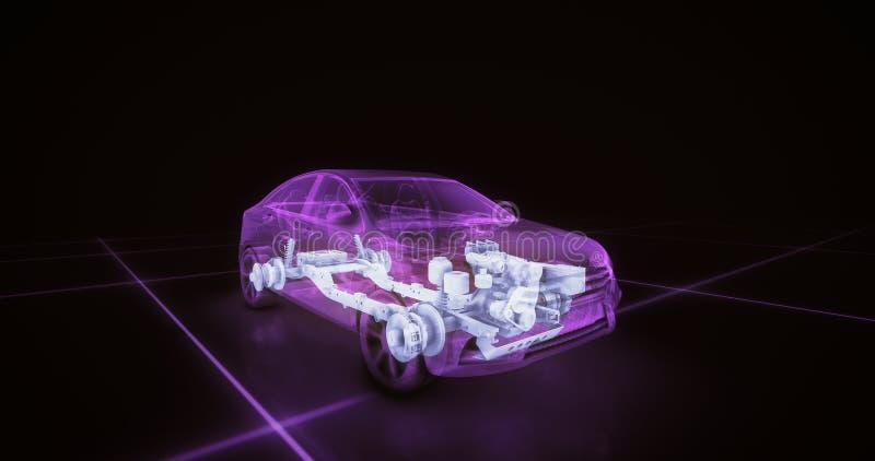 跑车导线模型有紫色霓虹ob黑色背景 皇族释放例证