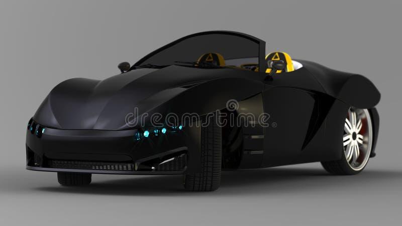 跑车小轿车的概念是敞篷车 专属和风格化调整电车 3d启动迷信例证皮革 向量例证