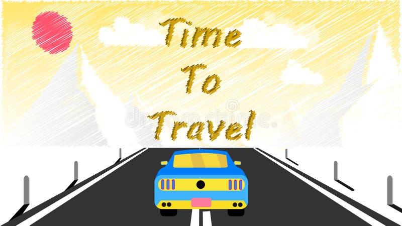 跑车沿柏油路乘坐入多雪的山 远航对山乘汽车,旅行和题字时间 库存例证