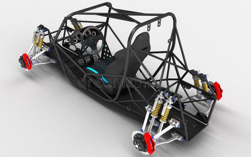 跑车的框架框架是有停止和试验` s位子的基本设计元素的一个儿童车 库存例证