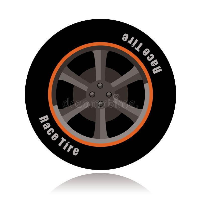 跑车轮子,种族轮胎 库存例证