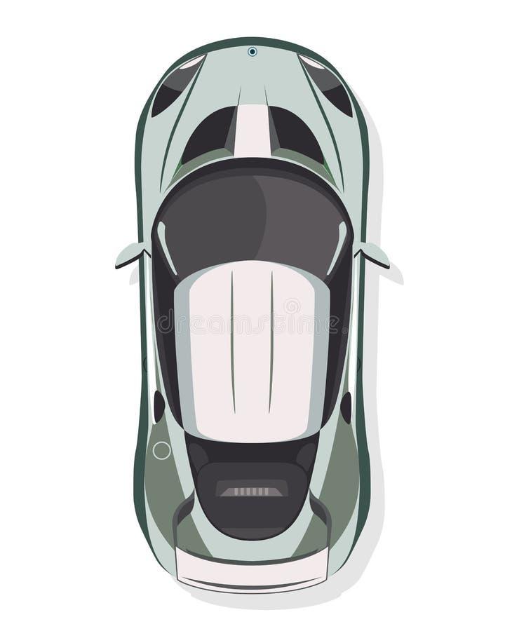 跑车,在平的样式的顶视图在白色背景 皇族释放例证
