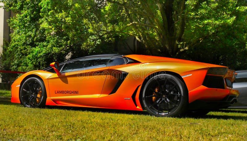 跑车,超汽车, Lamborghini Aventador 免版税图库摄影