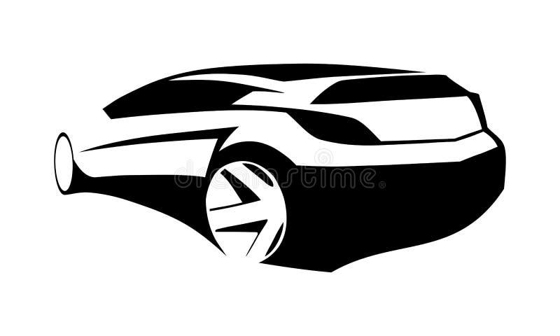 跑车黑色剪影 向量例证