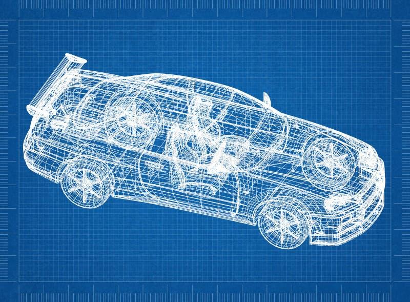 跑车3D图纸 库存照片