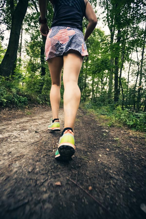 跑运动妇女的足迹在绿色森林,体育启发里 库存照片
