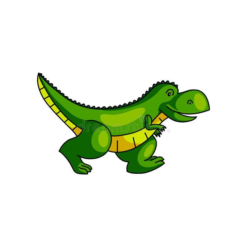 跑远离动物园的逗人喜爱的五颜六色的绿色恐龙 向量例证