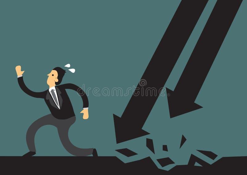 跑远离箭头攻击的商人 克服障碍和挑战的企业概念在公司世界 向量例证