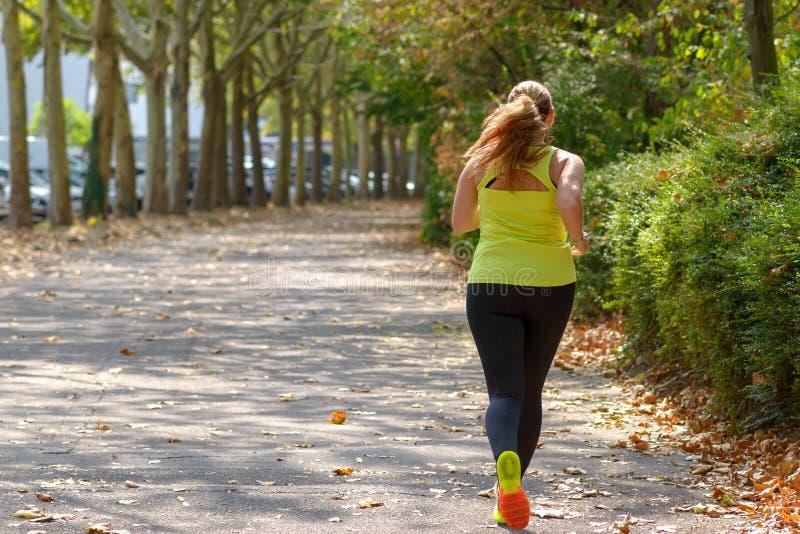 跑通过公园的后面观点的一名肥满中年妇女 图库摄影