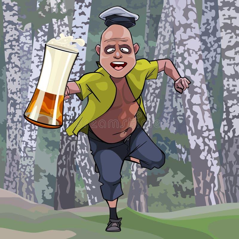 跑通过有一杯的森林的动画片人啤酒 向量例证