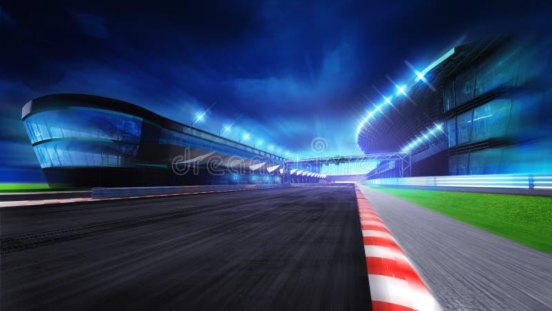 跑道与和行动迷离的主要体育场 库存例证