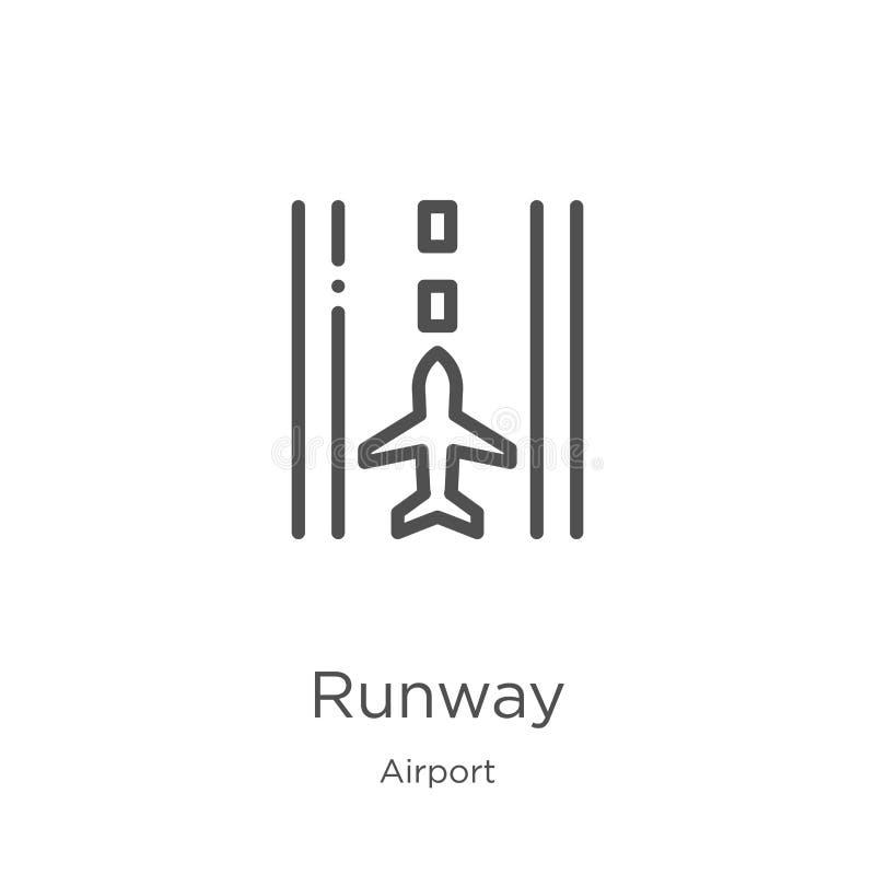 跑道从机场汇集的象传染媒介 稀薄的线跑道概述象传染媒介例证 概述,稀薄的线跑道象为 向量例证