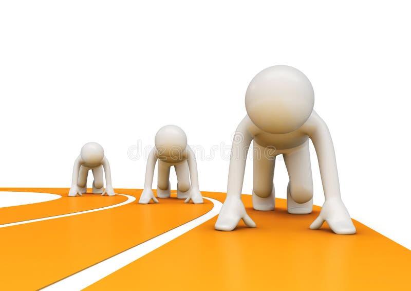 跑道赛跑者起始时间 向量例证
