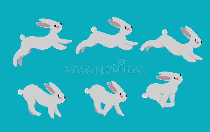跑野兔的动画周期 兔子行动姿势奔跑 向量例证