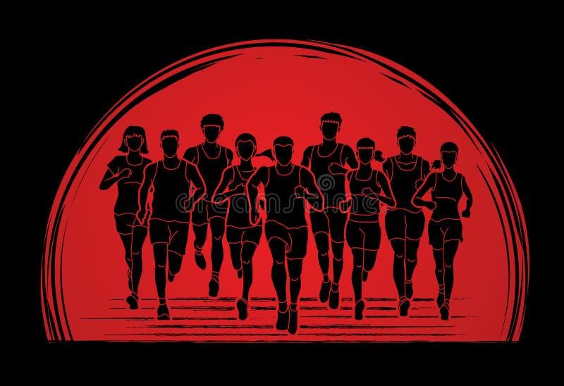 跑马拉松运动员、人的,一起跑的男人和的妇女 库存例证