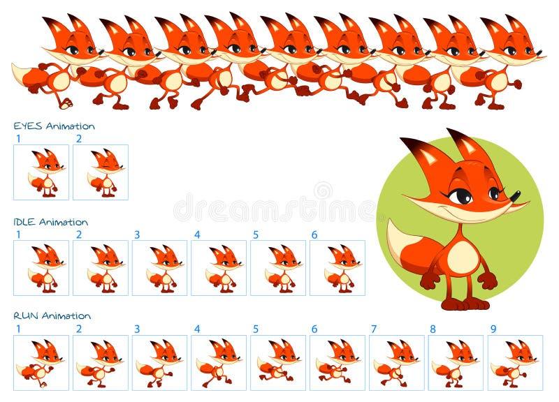 跑,眨眼睛眼睛和动画片狐狸字符的无所事事的动画 库存例证