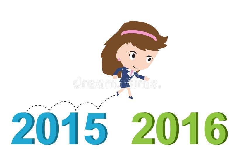 跑从2015年到2016年,新年成功概念的愉快的女商人, 库存图片