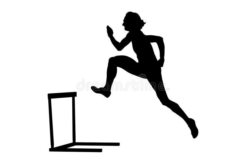 跑400米障碍的女子运动员 皇族释放例证