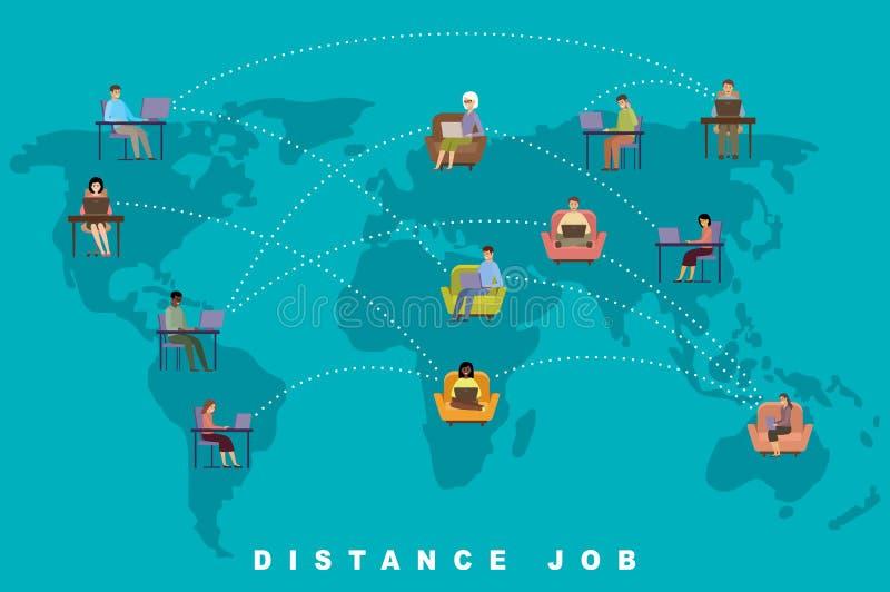 距离作业概念 在线业务 自由职业 人 向量例证