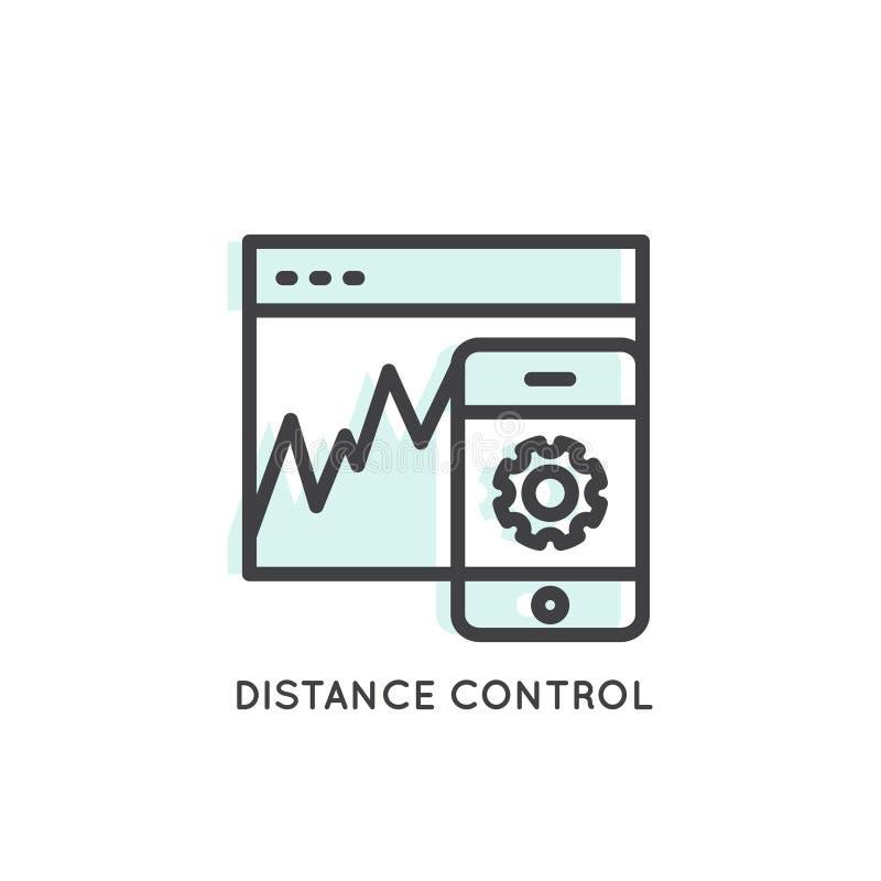 距离控制网上网和流动应用管理 皇族释放例证