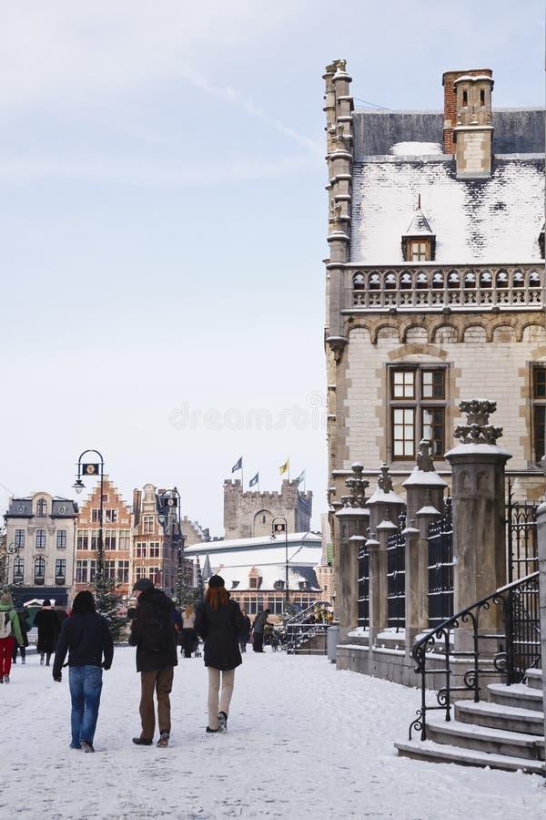 跟特旅游业在冬天 库存图片