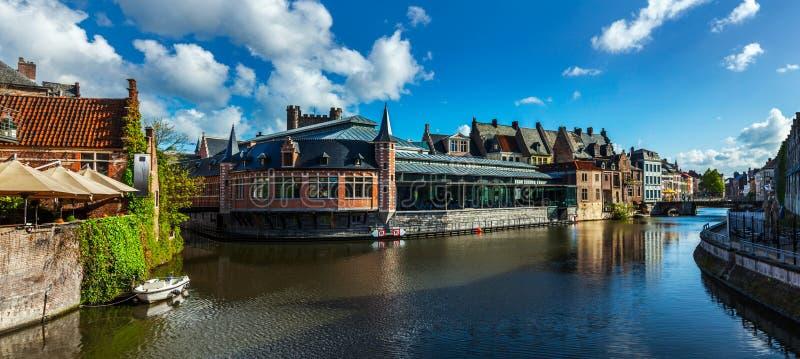 跟特运河。跟特,比利时 库存图片