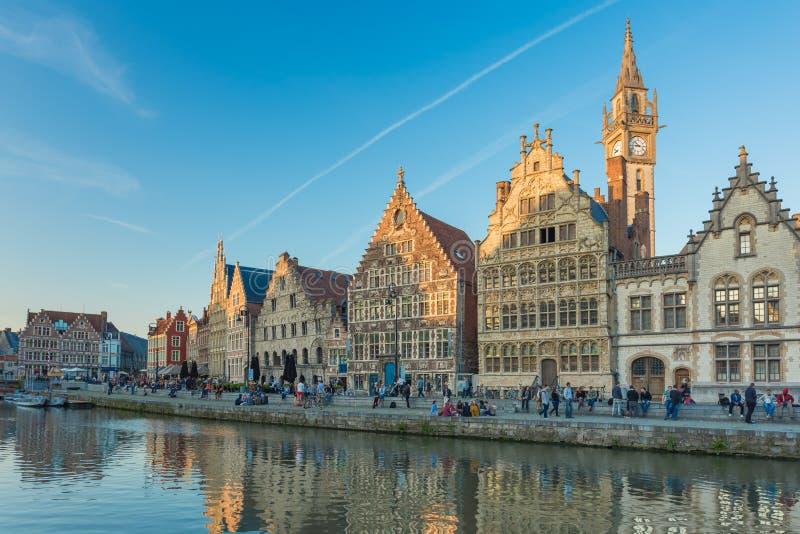 跟特镇在比利时 库存照片