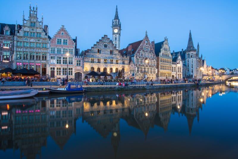 跟特镇在比利时 免版税库存照片