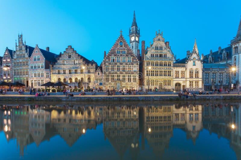 跟特镇在比利时 库存图片