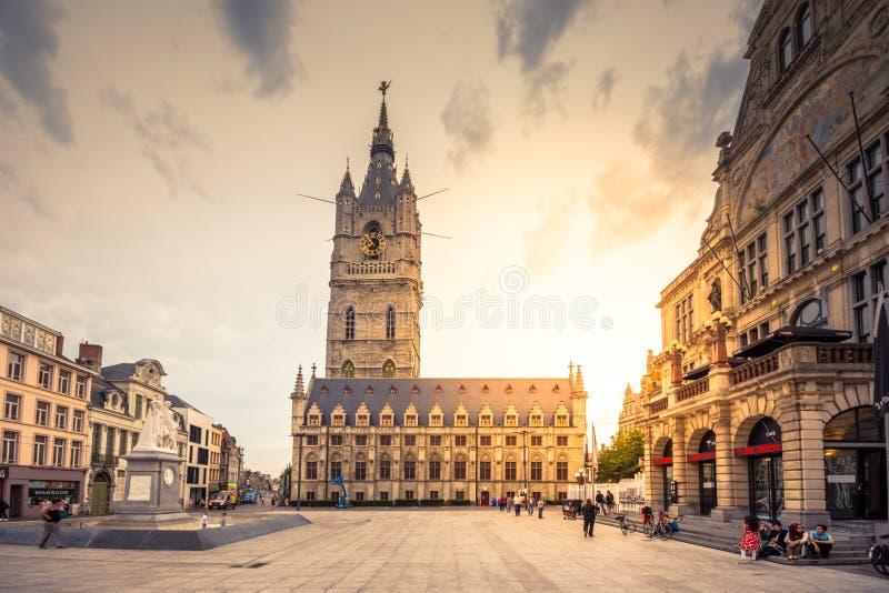 跟特` s老市中心风景地方-跟特,比利时 库存照片