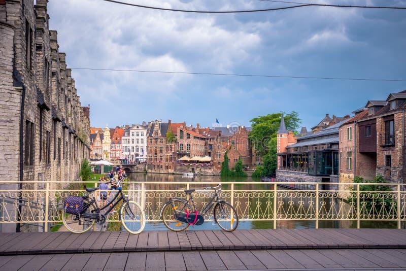 跟特` s老市中心风景地方-跟特,比利时 免版税库存图片