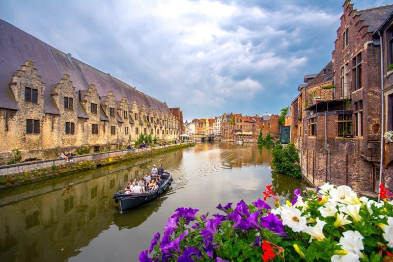 跟特` s老市中心风景地方-跟特,比利时 图库摄影