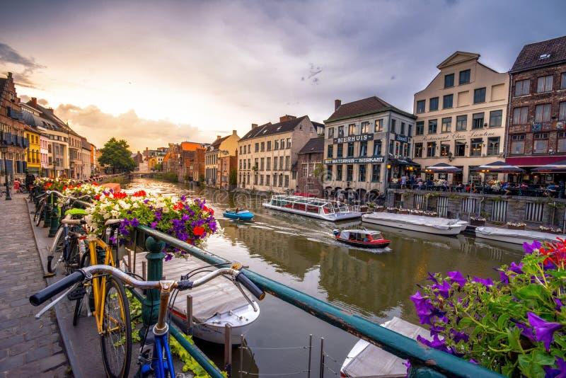 跟特` s老市中心风景地方-跟特,比利时 库存图片