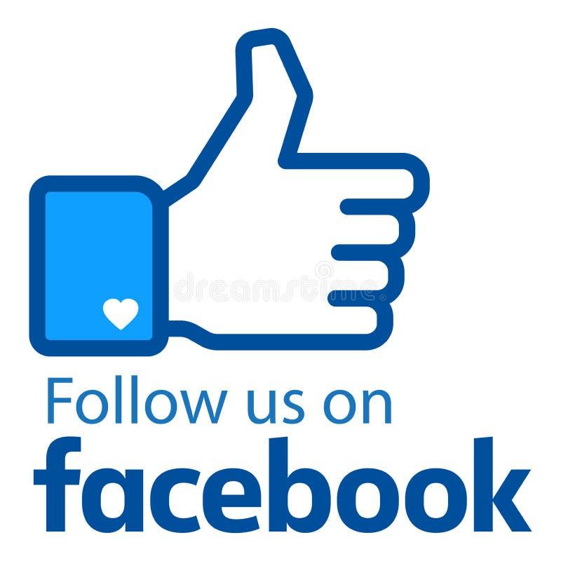 跟随我们在facebook商标 向量例证