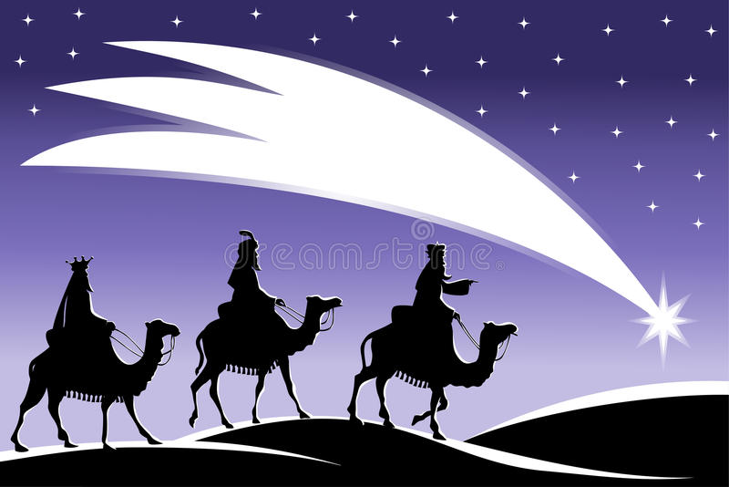 跟随星的三个圣人 库存例证