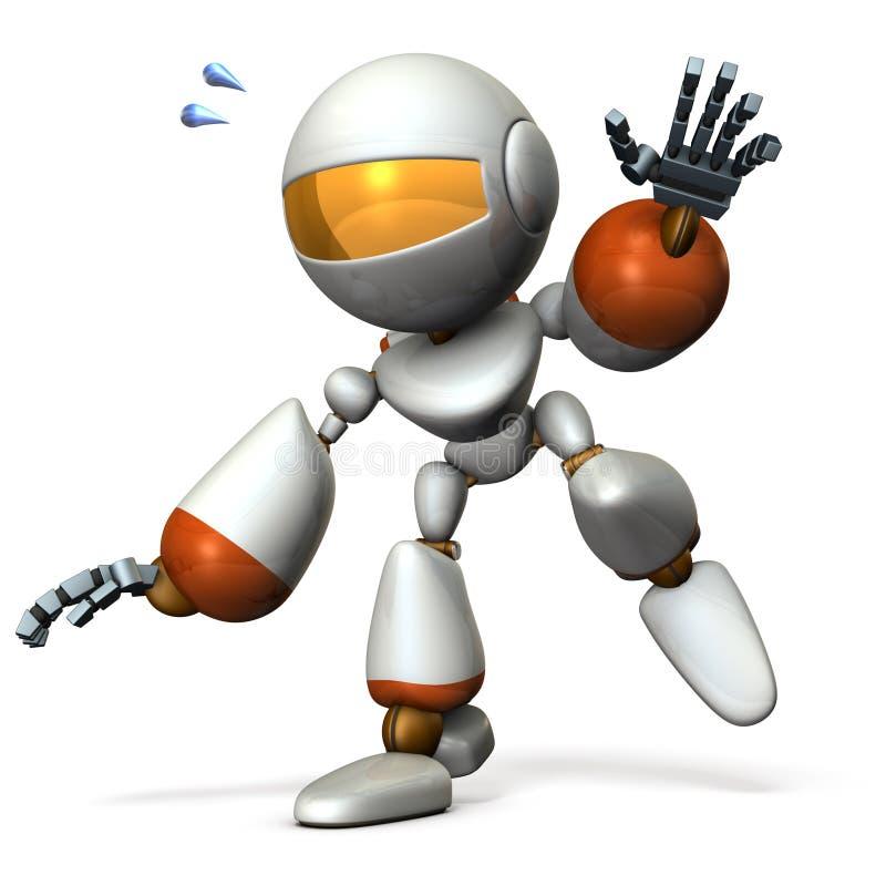 跟随某事的一个逗人喜爱的机器人 他是在落的边缘 库存例证