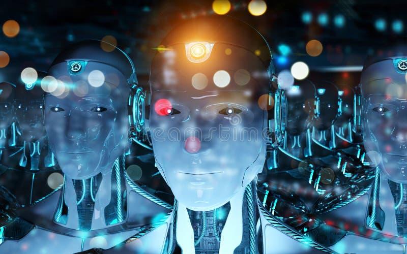 跟随领导靠机械装置维持生命的人军队3d翻译的小组男性机器人 库存例证