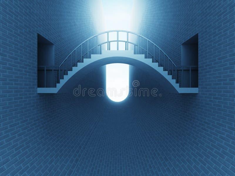 跨接在砖空间的曲拱在蓝色光 向量例证